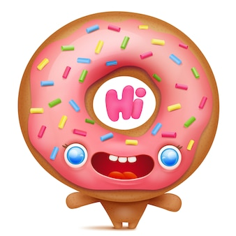 Donut cartoon emoji character saying hi.
