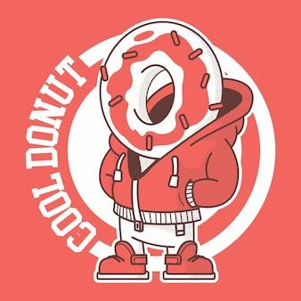 ドーナツキャラクター。ブランド、食品、甘い、パン屋のデザインコンセプト