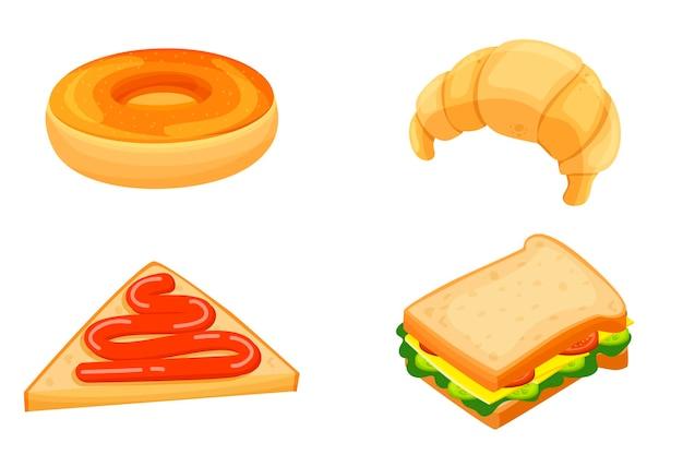 ドーナツ、クロワッサン、サンドイッチ、トーストとジャム。朝食を設定します。ベーカリー製品。漫画風のアイコン。孤立したオブジェクト。