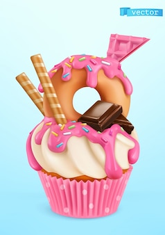 Donut cupcake illustration