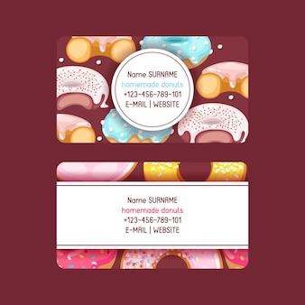 Donut doughnut business card food glazed sweet dessert with sugar chocolate in bakery