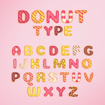 Donut font template cartoon style