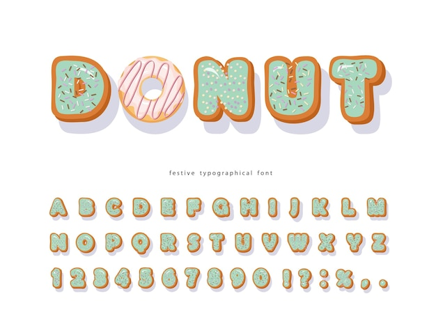 Donut hand drawn decorative font. cartoon sweet letters and numbers