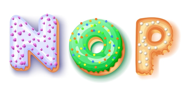 Пончик глазурь шрифта верхних букв, изолированные на белом фоне