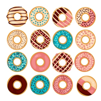 Donut  illustration set isolated on a wight background in flat style.