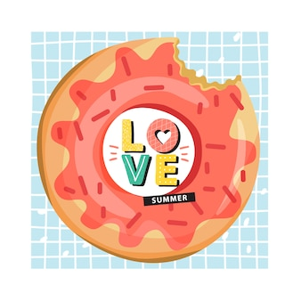 Donut inflatable swimming pool ring with trendy lettering