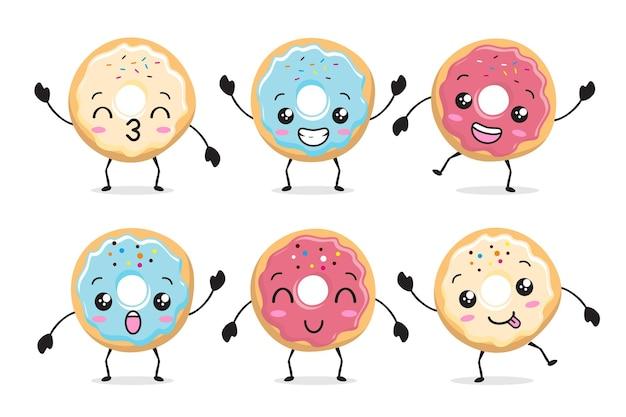 Donut kawaii mascot cartoon illustration set
