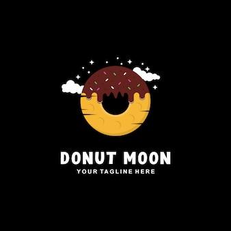 Пончик луна дизайн логотипа с плоским стилем