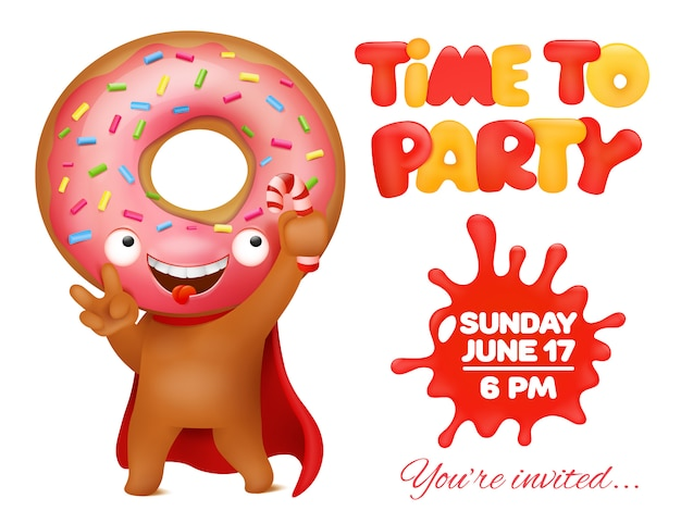 Donut party invitation card with funny cartoon emoticon character.