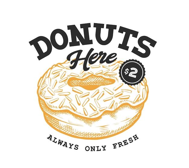 Пончик ретро эмблема. шаблон логотипа с черными буквами и эскиз желтого пончика. eps10 векторные иллюстрации.
