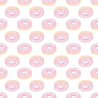 ドーナツシームレスパターンピンクのフロスティングのドーナツ。