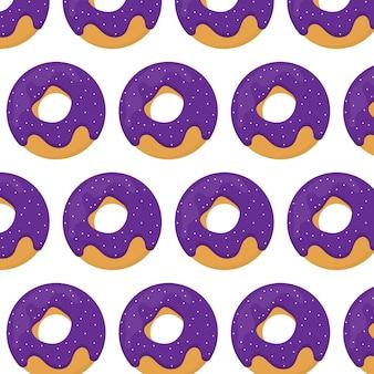ドーナツシームレスパターン紫色の釉薬のドーナツとパターン