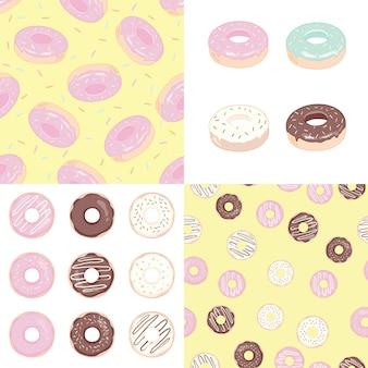 Пончик набор иллюстрации и бесшовный фон