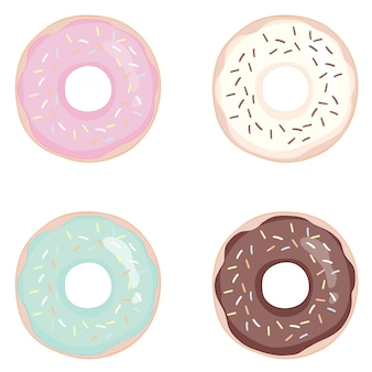 ドーナツは、白い背景に設定します。ドーナツは釉薬でセットしました。