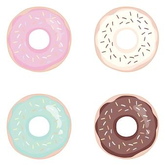 Donut set on a white background. donuts set with glaze.