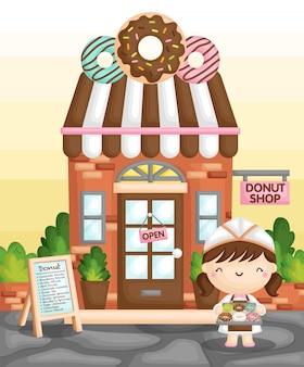 Donut shop girl