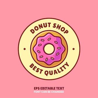 Пончик магазин логотип вектор значок иллюстрации в плоский премиум изолированные логотип пончик для кафе