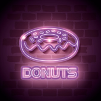 Donut sweet neon label
