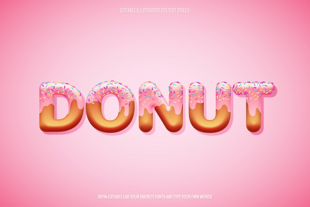 Donut text style with layered sprinkles decoration