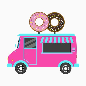 ドーナツトラック2つのおいしいドーナツの形で看板が付いているファーストフードのパン屋のバン