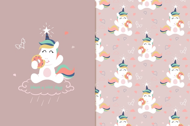 Donut unicorn pattern