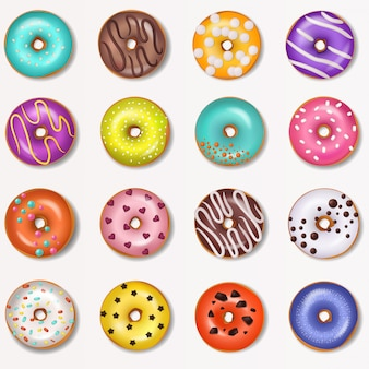 Donut vector doughnut food and glazed sweet dessert with sugar or chocolate in bakery illustration set
