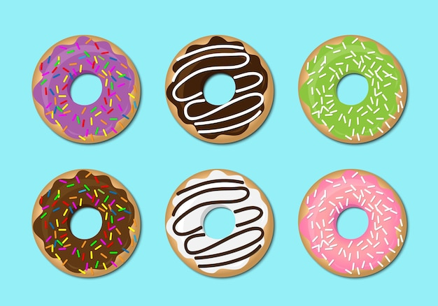 Donut vector set isolated