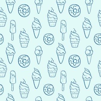 Donut with ice cream set seamless pattern