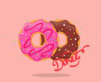 Donut with pink glaze and chocolate. Sweet sugar icing donuts with  lettering logo. Top view