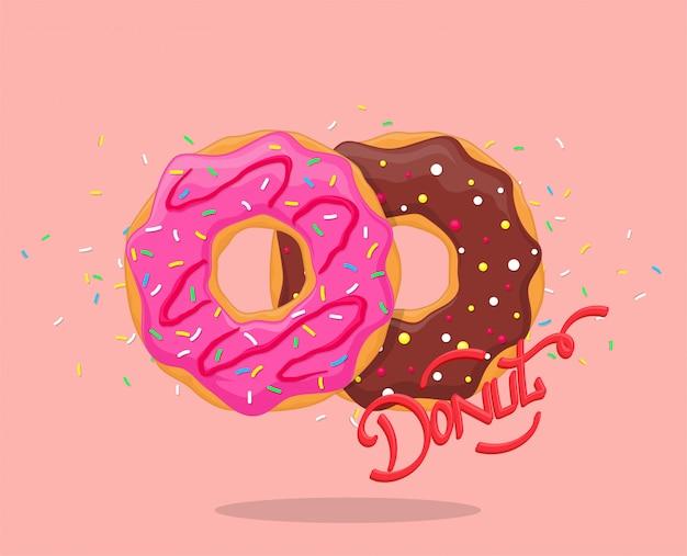 분홍색 유약과 초콜릿 도넛. 레터링 로고가있는 달콤한 설탕 장식 도넛. 평면도