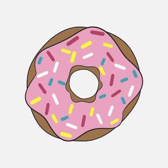 핑크 글레이즈가 든 도넛. 장식적인 색깔의 스프링클이 있는 맛있는 케이크. 벡터 일러스트 레이 션.