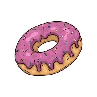 Пончик с розовой глазурью.