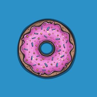 ピンクの釉薬をかけたドーナツ。