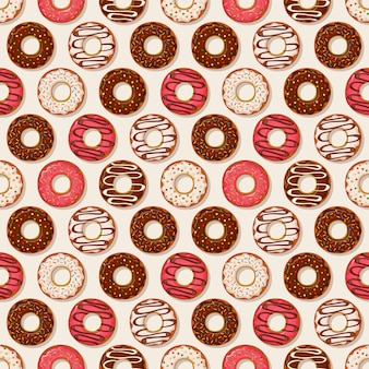 Donuts background. vector seamless pattern.