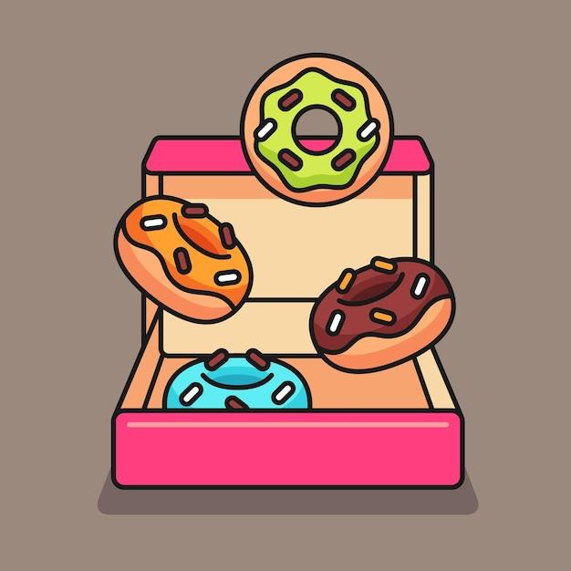 Коробка пончиков милый дизайн иллюстрации