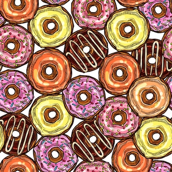 Donuts bright colorful seamless pattern