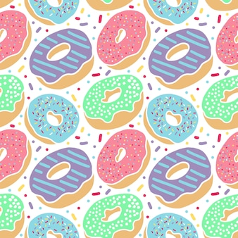 Donuts colorful delicious seamless pattern isolated in white background