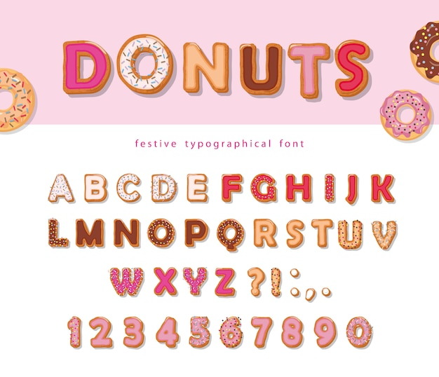 Donuts decorative font. cartoon sweet letters and numbers.