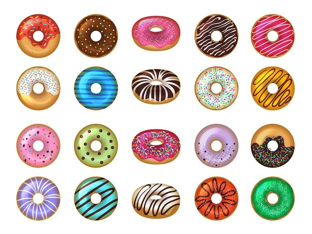 Пончики десерты. круглые продукты быстрого питания, вкусные шоколадные кольца, пирожные, цветной набор. пончик закуска, десерт круглая глазированная иллюстрация