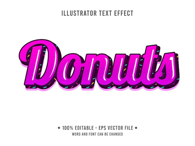 Donuts editable text effect food style with pink color