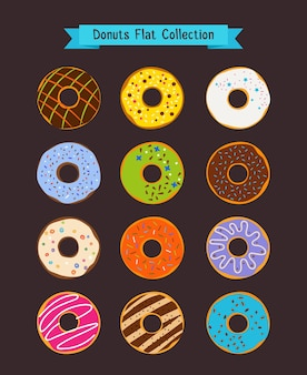 평평한 도넛. 도넛과 커피 숍 요소. 스낵 디저트 일러스트 세트