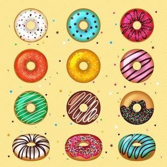 Пончики. глазированные десерты быстрого питания на завтрак, окрашенные круглой коллекцией вкусных продуктов. иллюстрация пончик десерт круглый глазированный, выпечка вкусная