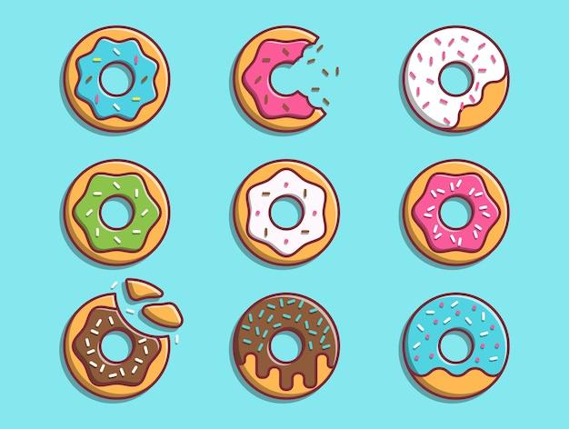 Пончики иллюстрации набор коллекции концепция питания пончик изолированные