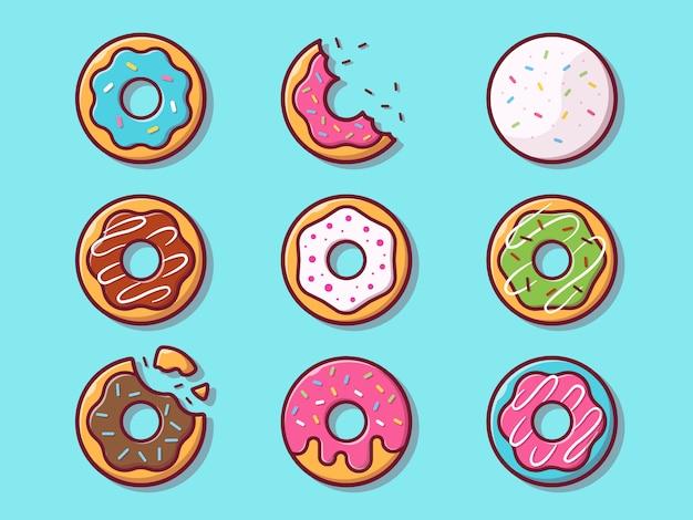 Иллюстрация пончики. установите коллекцию пончик. изолированная концепция еды