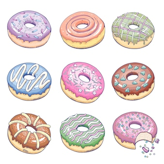 Donuts isolated set.