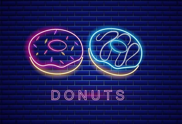 Donuts neon symbols