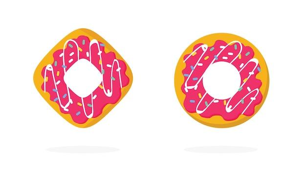 ドーナツまたは艶をかけられたドーナツ甘い孤立したアイコンを振りかけるロゴフラット漫画イラストで設定