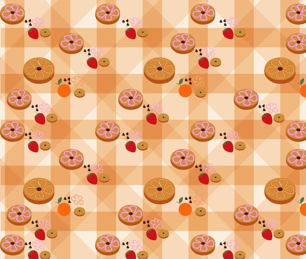 Donuts pattern on background vector.