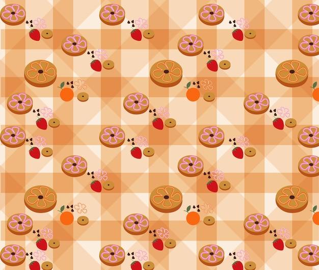 배경 벡터에 도넛 패턴입니다. 프리미엄 벡터