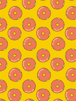 Donuts pattern on yellow background